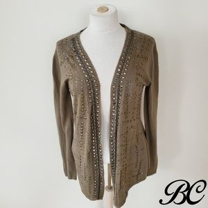 Alberto Makali Cardigan Sweater Olive Green Chain